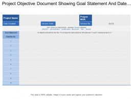 Project Objective Mocument Showing Goal Statement And Date Created