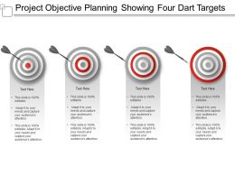 Project Objective Planning Showing Four Dart Targets