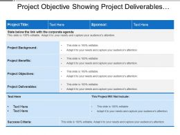 Project Objective Showing Project Deliverables And Benefits