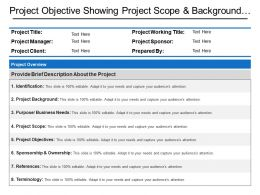 Project Objective Showing Project Scope And Background With Project Overview