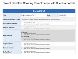 Project Objective Showing Project Scope With Success Factors