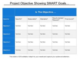 Project Objective Showing Smart Goals With Specific Measurable And Attainable