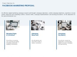Project Objectives For Facebook Marketing Proposal Ppt Template