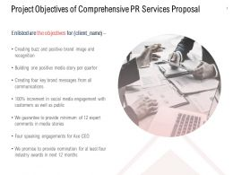 Project Objectives Of Comprehensive PR Services Proposal Ppt Designs
