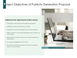 Project Objectives Of Publicity Generation Proposal Ppt Powerpoint Presentation Portfolio Examples