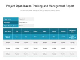 Project Open Issues Tracking And Management Report