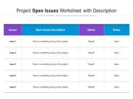 Project Open Issues Worksheet With Description
