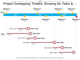 Project Overlapping Timeline Showing Six Tasks And Milestone