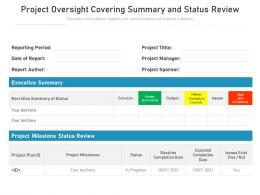 Project Oversight Covering Summary And Status Review