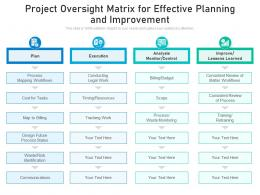 Project Oversight Matrix For Effective Planning And Improvement