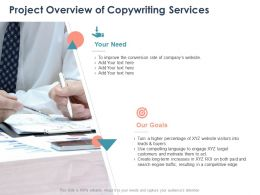 Project Overview Of Copywriting Services Ppt Powerpoint Presentation Aids