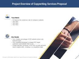 Project Overview Of Copywriting Services Proposal Ppt Powerpoint Vector