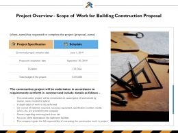 Project Overview Scope Of Work For Building Construction Proposal Ppt Powerpoint Presentation Backgrounds