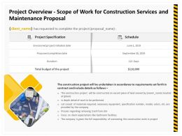 Project Overview Scope Of Work For Construction Services And Maintenance Proposal Ppt File
