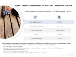 Project Overview Scope Of Work For Real Estate Construction Proposal Ppt Powerpoint Ideas