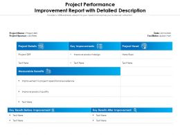 Project Performance Improvement Report With Detailed Description