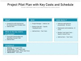 Project Pilot Plan With Key Costs And Schedule