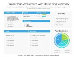 Project Plan Assessment With Status And Summary