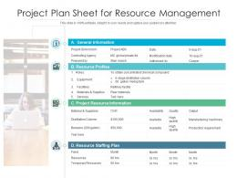 Project Plan Sheet For Resource Management