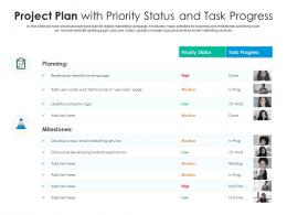 Project Plan With Priority Status And Task Progress