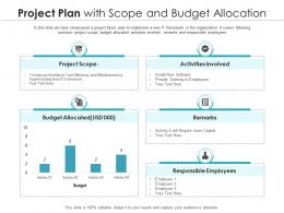 Project Plan With Scope And Budget Allocation