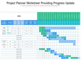 Project Planner Worksheet Providing Progress Update