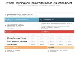 Project Planning And Team Performance Evaluation Sheet