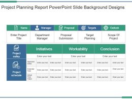 Project Planning Report Powerpoint Slide Background Designs