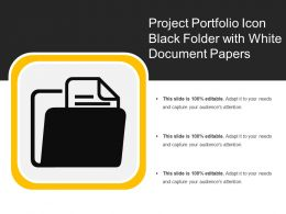 Project Portfolio Icon Black Folder With White Document Papers