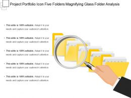 Project Portfolio Icon Five Folders Magnifying Glass Folder Analysis