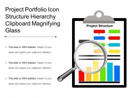 Project Portfolio Icon Structure Hierarchy Clipboard Magnifying Glass