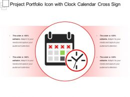Project Portfolio Icon With Clock Calendar Cross Sign