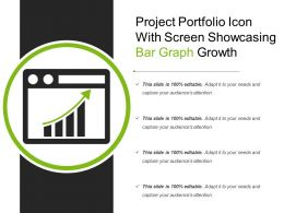 Project Portfolio Icon With Screen Showcasing Bar Graph Growth