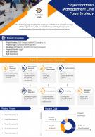 Project Portfolio Management One Page Strategy Presentation Report Infographic PPT PDF Document