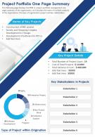 Project Portfolio One Page Summary Presentation Report Infographic PPT PDF Document