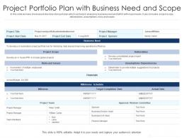 Project Portfolio Plan With Business Need And Scope