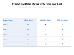 Project Portfolio Status With Time And Cost