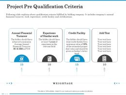 Project Pre Qualification Criteria Relevant Field Ppt Powerpoint Presentation Gallery Slide