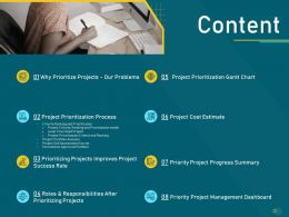 Project Priority Assessment Model Content Ppt Powerpoint Presentation Ideas Designs Download