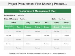 Project Procurement Plan Showing Product Description Type Status And Comments