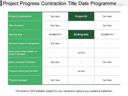 Project Progress Contraction Title Date Programme Table