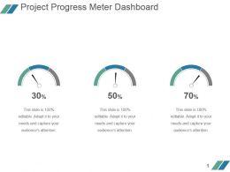 Project Progress Meter Dashboard Powerpoint Slide Designs Download
