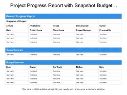 Project Progress Report With Snapshot Budget Overview Status Summary