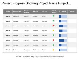 Project Progress Showing Project Name Project Status Complete Percentage