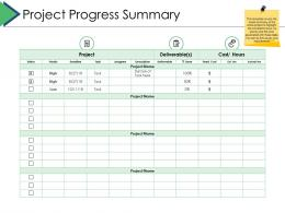 Project Progress Summary Project Brief Ppt Powerpoint Presentation Infographics Samples
