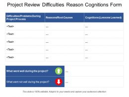 Project Review Difficulties Reason Cognitions Form