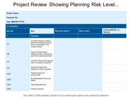 Project Review Showing Planning Risk Level Comments