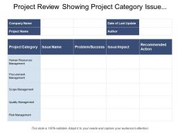 Project Review Showing Project Category Issue Name Problem Impact Action