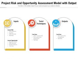 Project Risk And Opportunity Assessment Model With Output