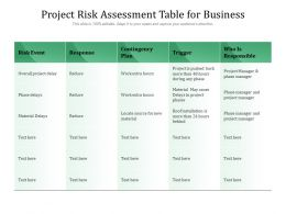 Project Risk Assessment Table For Business
